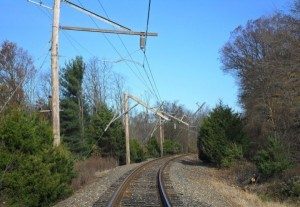 Wooden catenary poles destroyed during hurricane Sandy (WNYC)